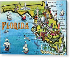 Acrylic Print featuring the digital art Florida Cartoon Map by Kevin Middleton