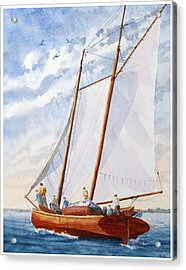 Acrylic Print featuring the painting Florida Catboat At Sea by Roger Rockefeller
