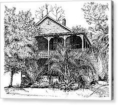 Acrylic Print featuring the drawing Florida House by Arthur Fix