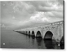 Florida Keys Seven Mile Bridge Black And White Acrylic Print