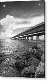 Florida Keys Seven Mile Bridge South Bw Vertical Acrylic Print