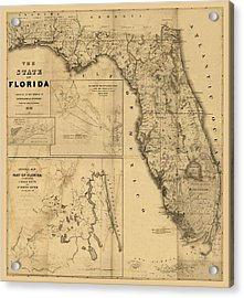 Florida Map Art - Vintage Antique Map Of Florida Acrylic Print by World Art Prints And Designs