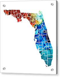 Florida - Map By Counties Sharon Cummings Art Acrylic Print by Sharon Cummings