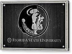 Florida State University Black And White Barn Door Acrylic Print