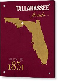 Florida State University Seminoles Tallahassee Florida Town State Map Poster Series No 039 Acrylic Print by Design Turnpike