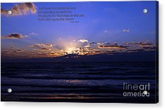 Florida Sunset Beyond The Ocean  - Quote Acrylic Print