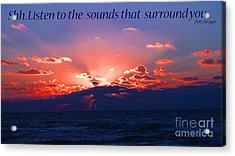 Florida Sunset Beyond The Ocean - Shh Acrylic Print