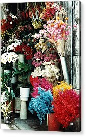 Florist In Athens Acrylic Print by Jacqueline M Lewis