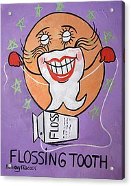 Flossing Tooth Acrylic Print by Anthony Falbo