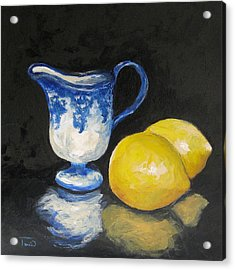 Flow Blue Creamer And Lemons Acrylic Print by Torrie Smiley