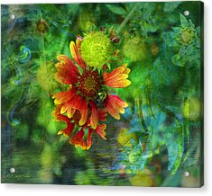 Flower Abstract Acrylic Print by J Larry Walker