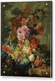 Flower And Fruit Piece Acrylic Print by Jan Van Huysum