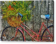 Flower Basket On A Bike Acrylic Print by Mark Kiver