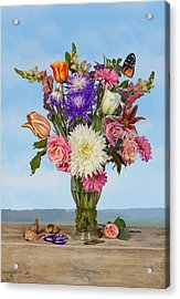 Acrylic Print featuring the photograph Flower Bouquet On A Ledge by Levin Rodriguez