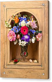 Acrylic Print featuring the photograph Flower Bouquet On Closed Niche by Levin Rodriguez