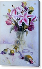Flower Bouquet With Teapot And Fruit Acrylic Print