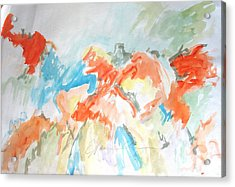 Acrylic Print featuring the painting Flower Bursts by Esther Newman-Cohen