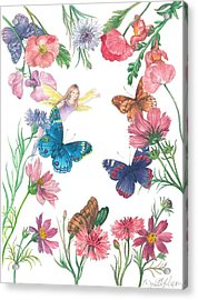 Flower Fairy Illustrated Butterfly Acrylic Print