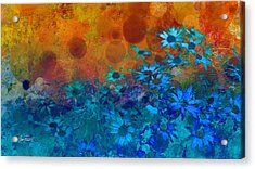 Flower Fantasy In Blue And Orange  Acrylic Print by Ann Powell
