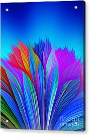 Flower Fantasy In Blue Acrylic Print