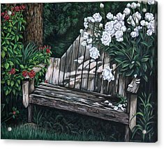 Acrylic Print featuring the painting Flower Garden Seat by Penny Birch-Williams