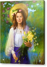 Flower Girl Acrylic Print by Janet McGrath