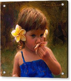 Flower Girl - Tropical Portrait With Plumeria Flowers Acrylic Print