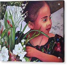 Flower Girl On Dia De Los Muertos Acrylic Print