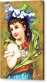 Flower Girl Acrylic Print by Vintage Trading Cards