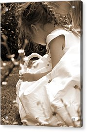 Flower Girls In Sepia Acrylic Print by Terri Waters