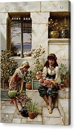 Flower Girls Acrylic Print by William Stephen Coleman