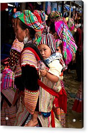 Flower Hmong Woman Carrying Baby Acrylic Print