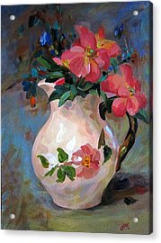 Acrylic Print featuring the painting Flower In Vase by Jieming Wang