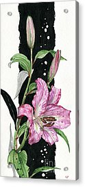 Acrylic Print featuring the painting Flower Lily 02 Elena Yakubovich by Elena Yakubovich
