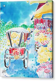 Flower Market  In Chiang Mai Acrylic Print
