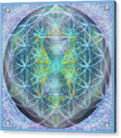 Flower Of Life Forested Chalice In Subtle Bluelavs Acrylic Print by Christopher Pringer