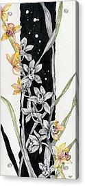 Acrylic Print featuring the painting Flower Orchid 07 Elena Yakubovich by Elena Yakubovich