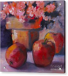 Flower Pot And Apples Acrylic Print by Michelle Abrams
