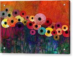 Flower Power Five Abstract Art Acrylic Print by Ann Powell