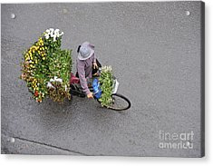 Flower Seller In Street Of Hanoi Acrylic Print