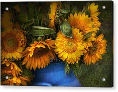 Flower - Sunflower - The Suns Have Risen  Acrylic Print by Mike Savad