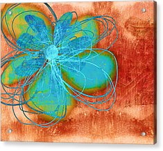 Flower  Whimsy In Blue Acrylic Print by Ann Powell