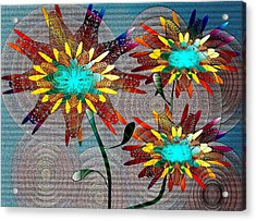 Acrylic Print featuring the drawing Flowering Blooms by Iris Gelbart