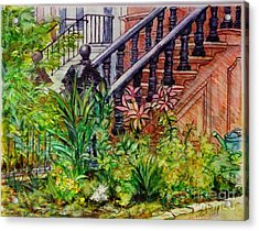 Flowers And Balustrade Eighth Street Acrylic Print