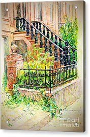 Flowers And Balustrade Ninth Street Acrylic Print