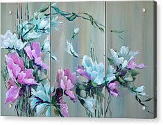 Flowers And Bamboo - Tryptych Acrylic Print by Steven Nevada