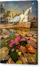 Flowers And Buddha Acrylic Print by Adrian Evans