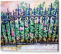 Flowers And Fence On Eighth Avenue Acrylic Print