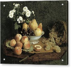 Flowers And Fruit On A Table Acrylic Print by Henri Fantin-Latour