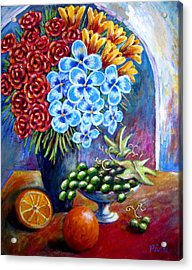 Flowers And Fruit  Acrylic Print